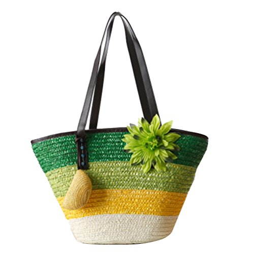 Youjia Straw Totes Beach Handbag Green Bags Shopper Shoulder Boho 1 Flower Womens qrrI1EHw