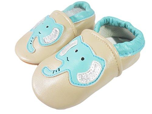 Kangxing Weiche Premium Leder Krabbelschuhe Lauflernschuhe Babyschuhe mit Verschiedenen Motiven Beige Elefant