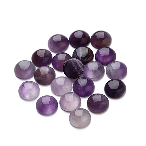 Linsoir Beads Amethyst Cabochons Stones Purple Gemstone Cabochons Beads 12mm Pack of 20