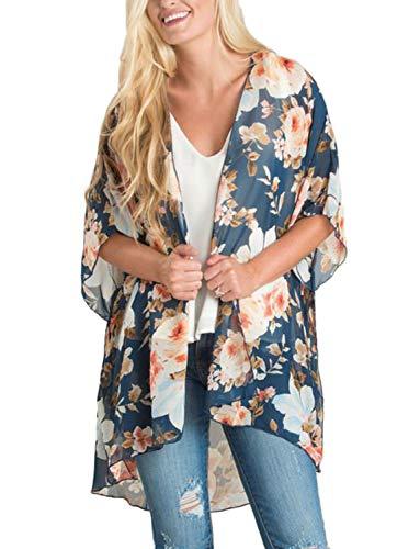 Chunoy Women Casual Short Sleeve Shawl Floral Print Chiffon Kimono Cover Up Lavender Navy Small ()