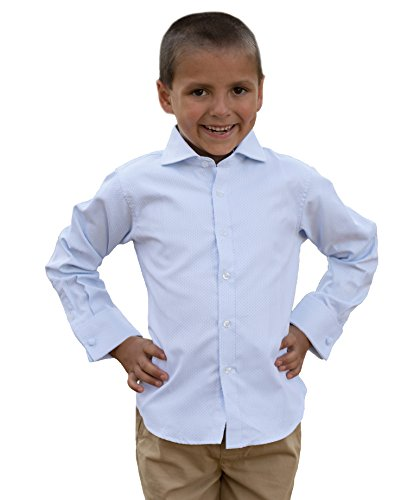 Boys Dress Shirts Long Sleeve - Comfortable 100% Cotton, Fashioned Spread Collar, and French Cuffs with Cufflinks Included