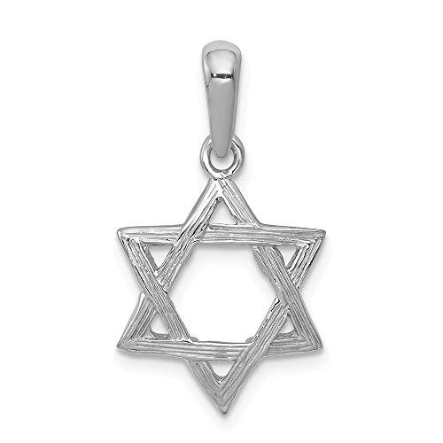 14k White Gold Jewish Jewelry Star Of David Pendant Charm Necklace Religious Judaica Fine Jewelry Gifts For Women For Her (Gold White Religious Jewish Pendant)