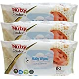 Nuby Baby wipes (80 wipes) pack of 3 (3, white)