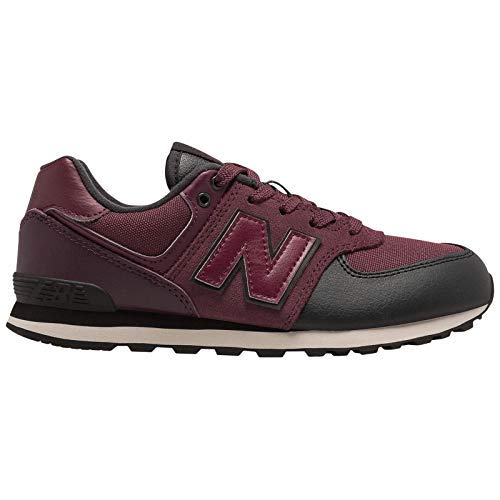 New Balance Boys' Iconic 574 Sneaker Nubuck Burgundy/Black 2.5 M US Little Kid