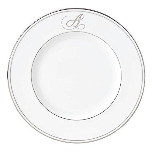 (Lenox Federal Platinum Script Monogram Dinnerware Accent Plate, A)