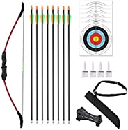 """Vogbel 45"""" Bow and Arrows Set for Youth Outdoor Archery Beginner Gift Recurve Bow Kit with 9 Arrows 6 Tar"""