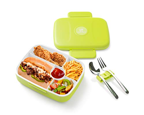 Bento Lunch Box For Adults and Kids | 5 Compartments with Fork + Spoon INCLUDED | Leakproof, Microwave and Dishwasher Safe, BPA Free Container (Green)