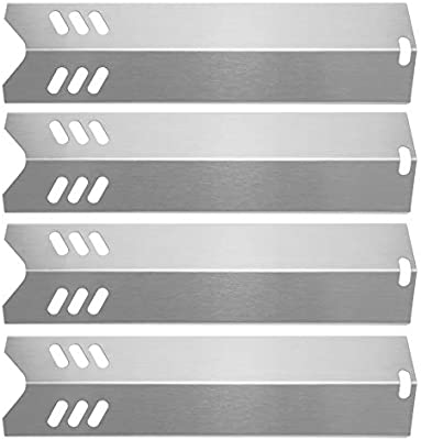 Better Home and Garden Hisencn 4PK Grill Replacement Parts for Uniflame GBC1059WB 15 inch Stainless Steel Heat Plate Shield Tent Flame Tamer BBQ Burner Cover Backyard Grill GBC1255W