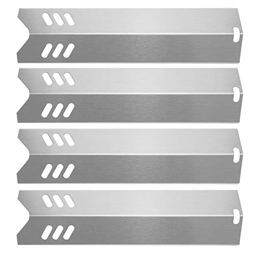 Hisencn 4PK Grill Replacement Parts for Uniflame GBC1059WB, Backyard Grill GBC1255W, Better Home and Garden, 15 inch Stainless Steel Heat Plate Shield Tent Flame Tamer BBQ Burner Cover