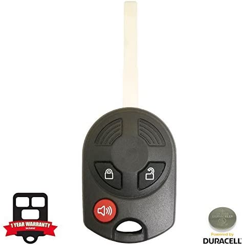 New 3 Button Uncut Remote Key Replacement for 2013 2014 2015 Ford Escape W//Duracell Battery Inside 164R8007