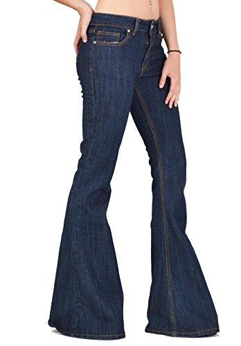 70s Style Flares Bell-Bottom Wide Flared Jeans - Dark Blue Indigo