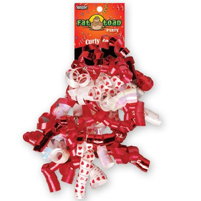 CURLED RIBBON BOW RED HEARTS #34072, CASE OF 192 by DollarItemDirect