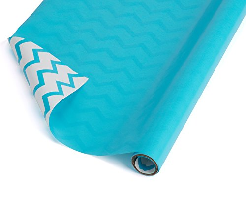 American Greetings Reversible Wrapping Paper, White with Aqua Chevron Stripes, 2.5' x 12' (068981045298)