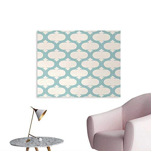 Tudouhoho Aqua Space Poster Mesh Pattern with Curvy Figures Ancient Arabic Lattice Design Old Fashioned Pastel Photo Wall Paper Seafoam Cream W28 xL20]()