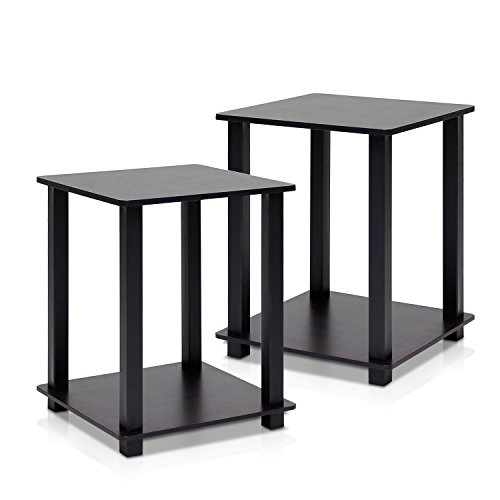Glass Wide End Table - Furinno 12127EX/BK Simplistic End Table, Espresso/Black, Set of 2