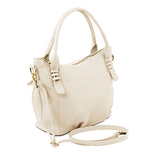 Tuscany Leather - TL Bag - Borsa a mano in pelle morbida - TL141705 (Magenta) Avorio