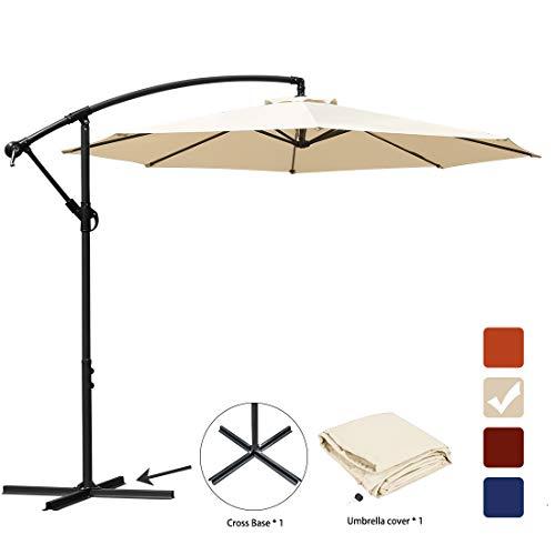 RUBEDER Patio Umbrella 10 Ft Offset Cantilever Umbrella Outdoor Market Hanging Umbrellas & Crank with Cross Base,8 Ribs (Beige)