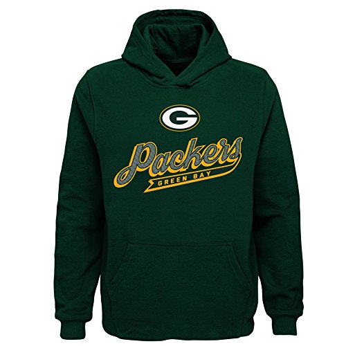 NFL Green Bay Packers Kids & Youth Boys Pioneer Sueded Fan Classic Hoodie, Hunter Green, Youth Small(8)
