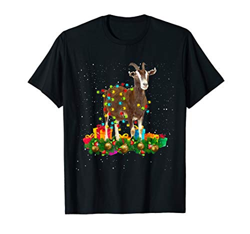 Christmas Lights Goat Xmas Goats Lover Gifts For Girls Women T-Shirt (Singing Goat Christmas)