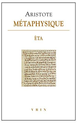 Métaphysique Éta (Bibliotheque Des Textes Philosophiques) (French Edition)