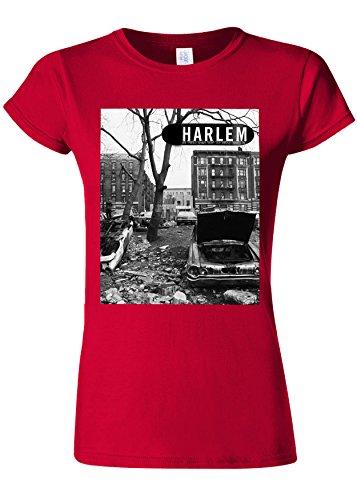 広々としたいっぱいベルトHarlem Backstreet NY Gangster Novelty Cherry Red Women T Shirt Top-L