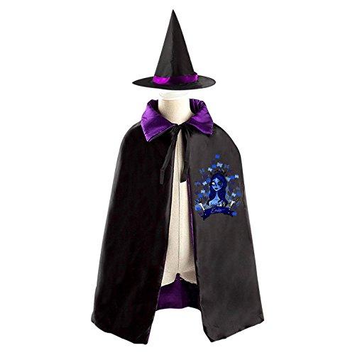 Zombie Bride Emily Kids Halloween Witch Cape Cloak Wizard Cap Hat Sets