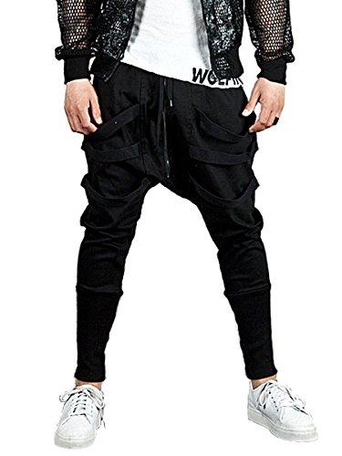 Men's Casual Joggers Harem Pants Stylish Hip Hop Drawstring Zipper Slim Fit Sweatpants Trousers by Hsumonre