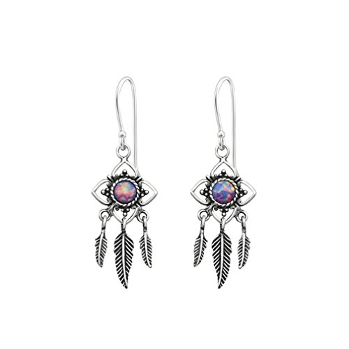 Liara - Flower Earring With Hanging Feather Opal and Semi Precious Earrings 925 Sterling Silver. Polished And Nickel Free (Sterling Silver Opal Hanging)