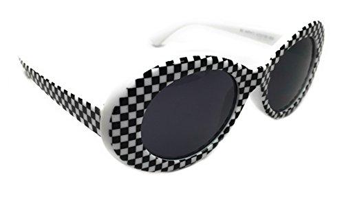 WebDeals - Oval Round Retro Sunglasses Color Tint or Smoke Lenses Clout Goggles (Checkerboard, Smoke)