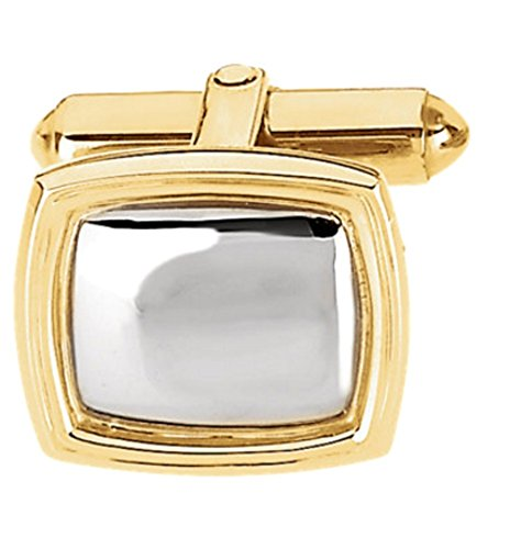 14k Yellow Gold and Sterling Silver Rectangle Cuff Link, (Single Cuff Link) 14x16MM