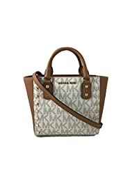 Michael Kors Sandrine Stud Signature Small Crossbody handbag in Vanilla/Acorn