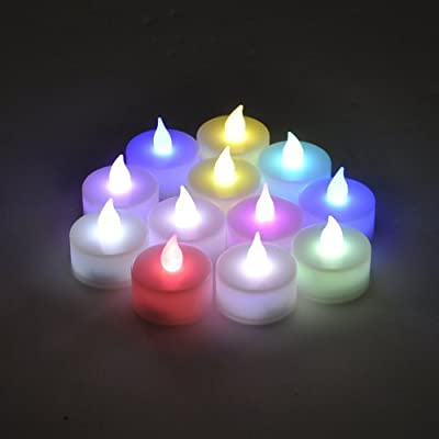 Instapark LCL-C12 Battery-powered Flameless Color-changing LED Tealight Candles, One Dozen Pack