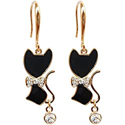 Navachi 18k Yellow Gold Plated Bowknot Cat Black Enamel Crystal Az1493e Dangle Drop Earrings