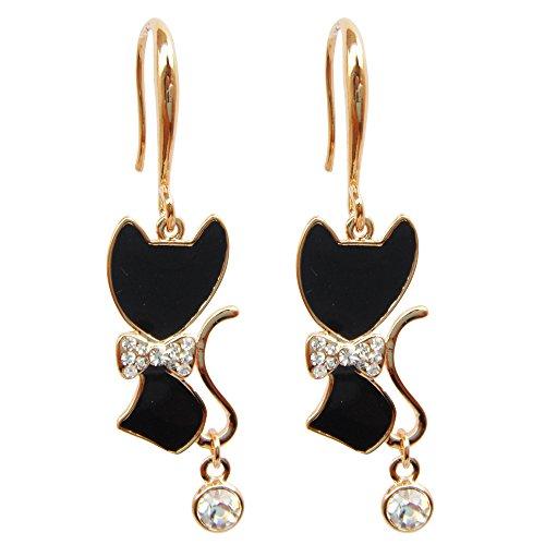 (Navachi 18k Yellow Gold Plated Bowknot Cat Black Enamel Crystal Az1493e Dangle Drop)