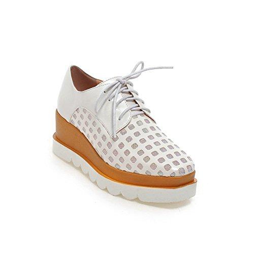 Allhqfashion Femmes Lace Up Talon Chaton Pu Solide Carré Fermé Toe Pumps- chaussures Blanc