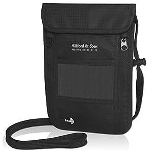 Portadocumenti da collo leggero + sicurezza RFID | Marsupio da viaggio per smartphone, passaporto, carte | Borsellino a… 16 spesavip