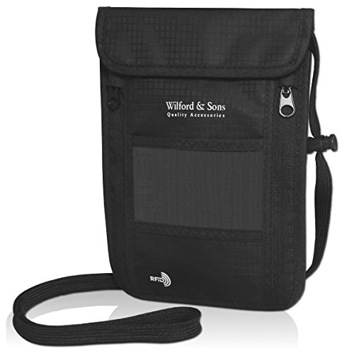 Neck Pouch + RFID-Blocker – Light, Flat Neck Bag with Zip | Black Travel...