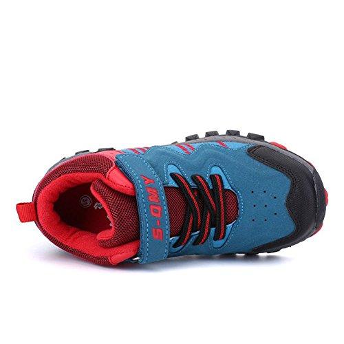 a94d96526b06f1 Kinder Sneaker Jungen Mädchen Wanderschuhe Klettverschluss  TurnschuheOutdoor Trekking Schuhe Rutschfeste Abriebfeste Blau Rote ...