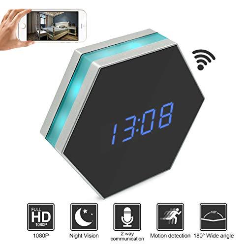 Camakt HD 1080P WiFi Hidden Spy Alarm Clock Camera Night Vision with Motion Detector,Intercom and 160 Degree, Wireless Security Nanny Camera (Clock Nanny Cam)