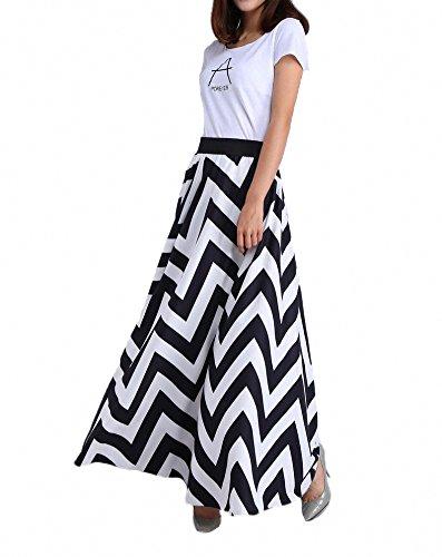 Haute Noir Plage Ourlet Sol Femmes Taille Mousseline amp;blanc Mopping Longueur Maxi Solide Jupe Afibi Gros aq8YOwqv