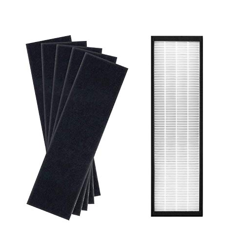 Colorfullife Air Purifier Filters Compatible with GermGuardian Air Purifier AC4825, AC4825E, AC4300BPTCA, AC4850PT, AC4900CA, CDAP450, Replacement FLT4825 Filter B, 1 HEPA + 5 Carbon Filters