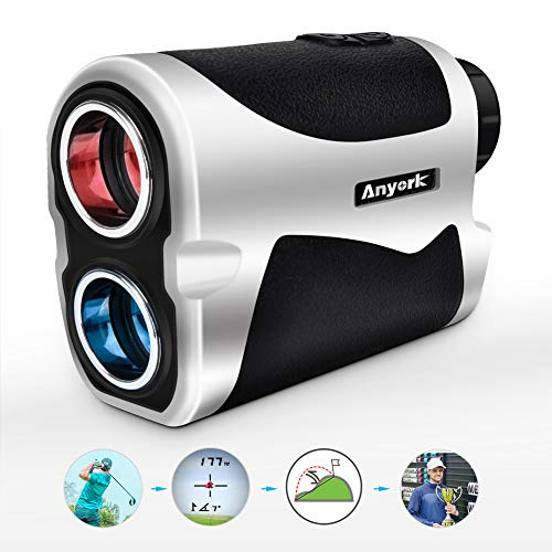 Anyork 6X Golf Rangefinder - 1500 Yard Laser Range Finder Small with Slope On/Off Pinsensor Flag-Lock Tech - Laser Binoculars - with Battery ()