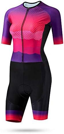 サイクルジャージ 女性のトライアスロンスーツ夏半袖ジャージーレディーススケートスーツ通気性UV保護 吸汗速乾高通気 (色 : マルチカラー, サイズ : XXXL)