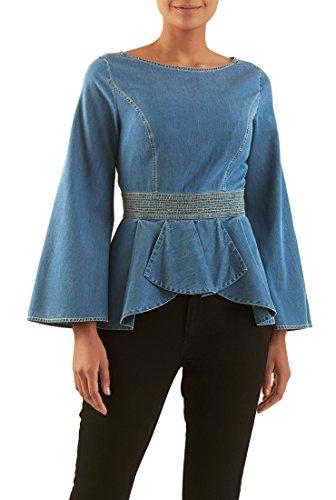 eShakti Women's Bell sleeve cotton denim peplum top 2X-22W Regular Medium blue