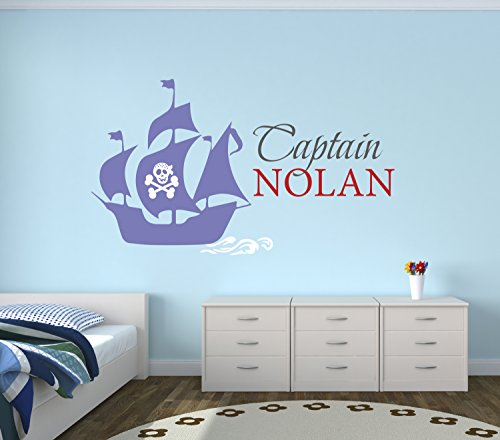 Custom Pirate Boat Name Wall Decal - Pirate Boy Room Decor - Nursery Wall Decals - Captain Pirate Vinyl Sticker for Boys -