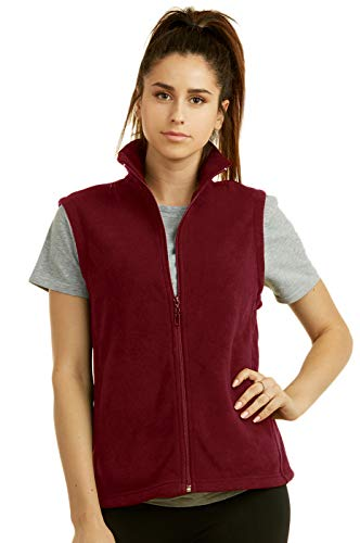 (Sofra Women's Polar Fleece Full Zip Up Winter Vest (L, Burgundy))