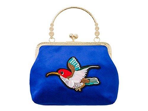 Haute für Diva S Neu Damen Top Griff Kunstwildleder Kolibri Dekoration Abend Handtasche Tasche - Hautfarben, Small Königsblau