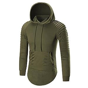 Helisopus Men's Hipster Irregular Hem Hoodie Blouse Tops Solid Color Long Drop Tail Pullover Sweatshirt