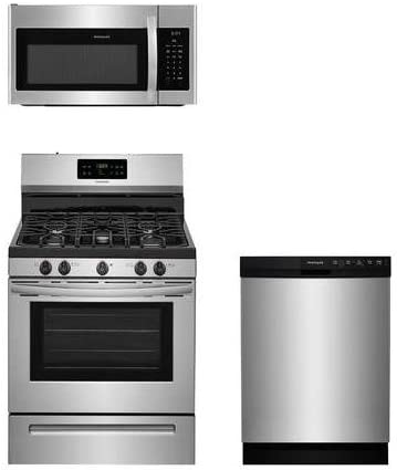 """B075DRBH5C Frigidaire 3-Piece Stainless Steel Kitchen Package with FFGF3054TS 30"""" Freestanding Gas Range, FFMV1645TS 30"""" Over-the-Range Microwave and FFBD2412SS 24"""" Full Console Dishwasher 41WryTKIK4L."""