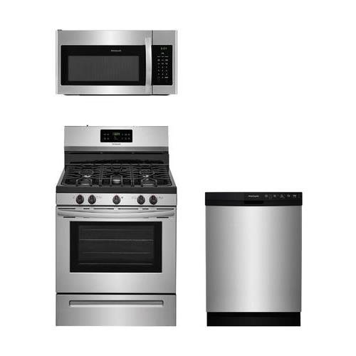 Frigidaire 3-Piece Stainless Steel Kitchen Package with FFGF3054TS 30″ Freestanding Gas Range, FFMV1645TS 30″ Over-the-Range Microwave and FFBD2412SS 24″ Full Console Dishwasher
